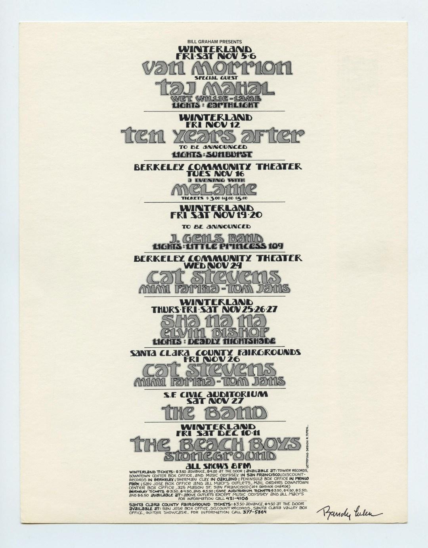 Bill Graham Presents Postcard Randy Tuten signed 1971 Nov Dec Van Morrison Beach Boys Cat Stevens