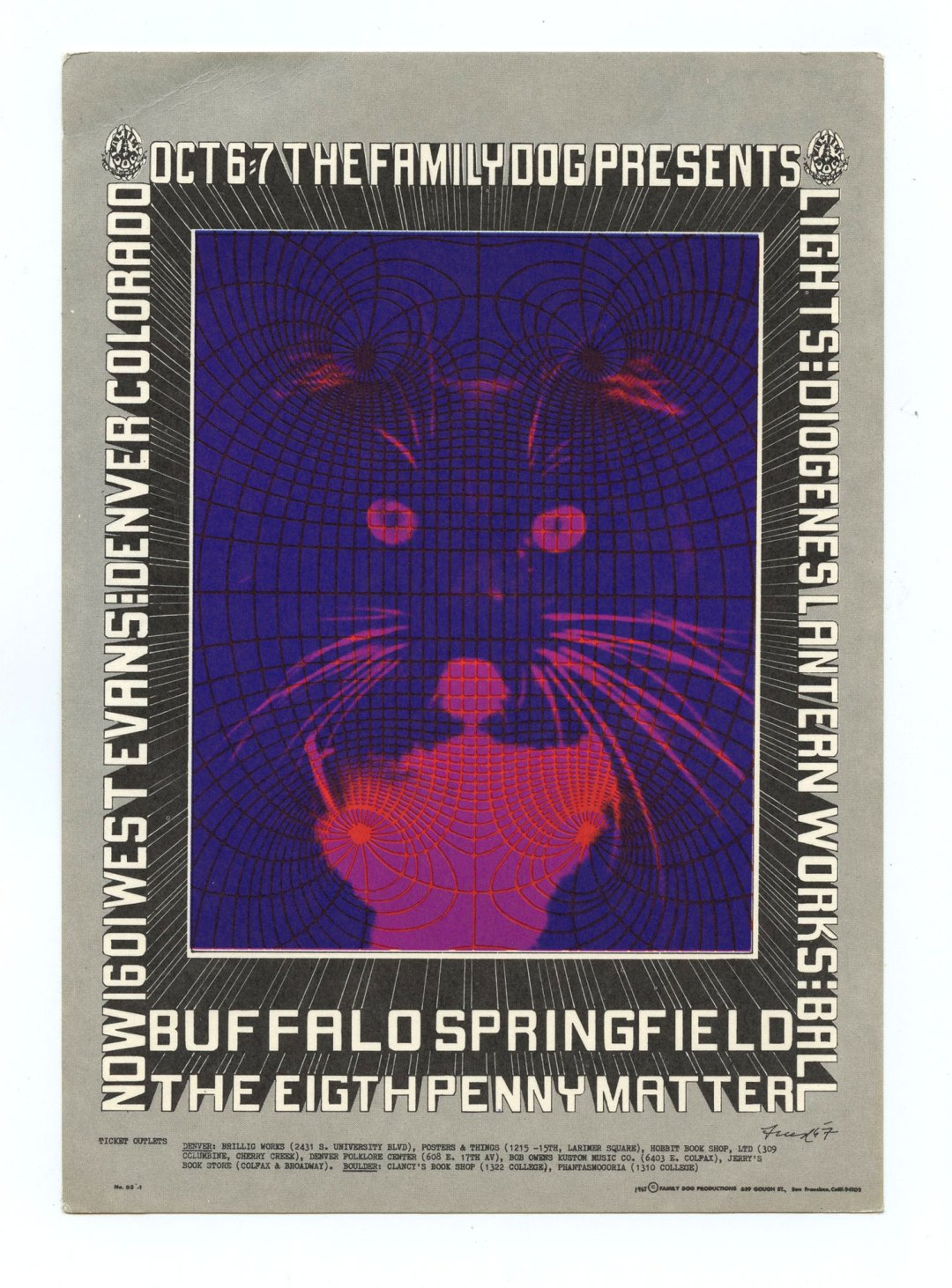 Family Dog Denver  5 Postcard Kitty 1967 Oct 6 Buffalo Springfield Eighth Penny Matter
