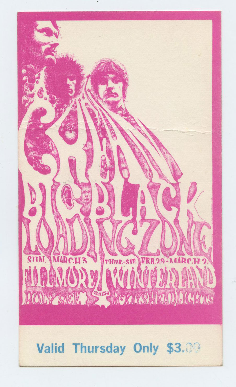BG 109 Ticket Cream Big Black Loading Zone 1968 Feb 29