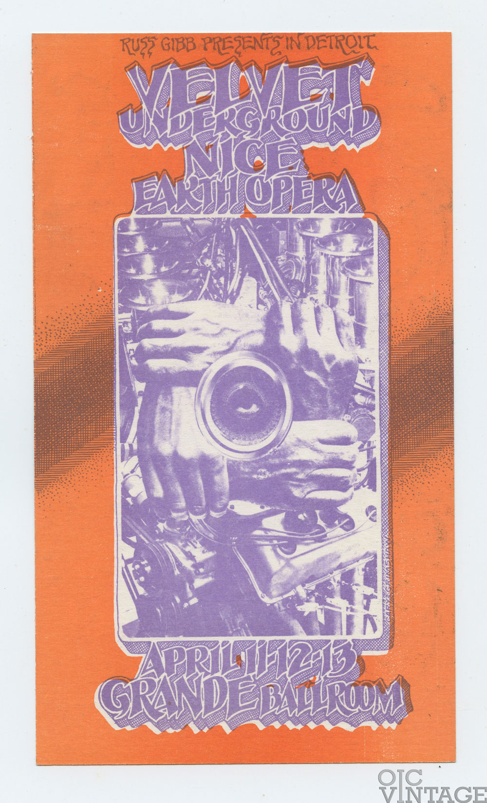 Grande Ballroom Postcard 1969 Apr 11 Velvet Underground Earth Opera