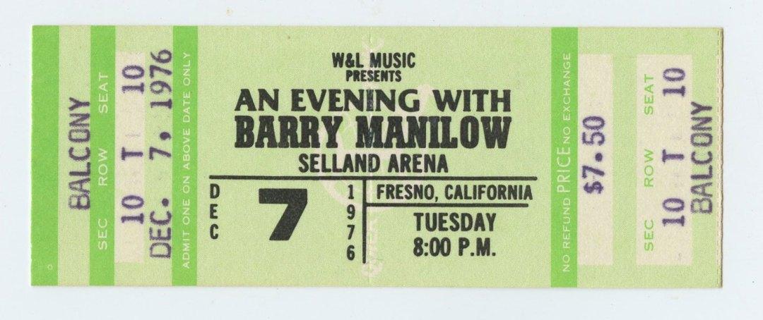 Barry Manilow Ticket 1976 Dec 7 Selland Arena Fresno Ca Unused