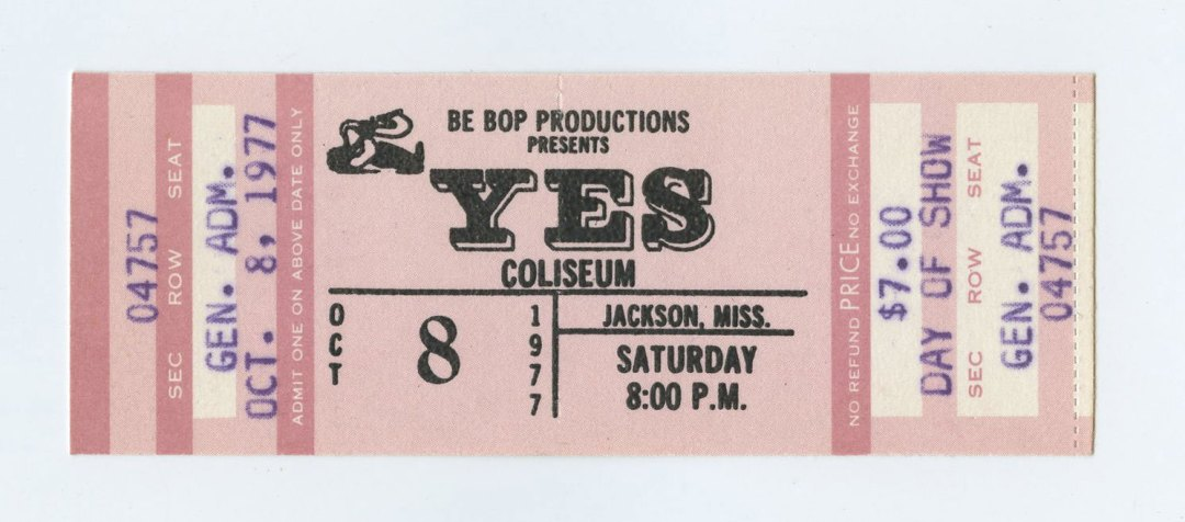 Image result for yes ticket stub  1977