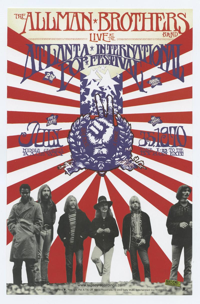 Allman Brothers Band Handbill 1970 Jul 3 Atlanta Intl Pop Festival Live Album Promo