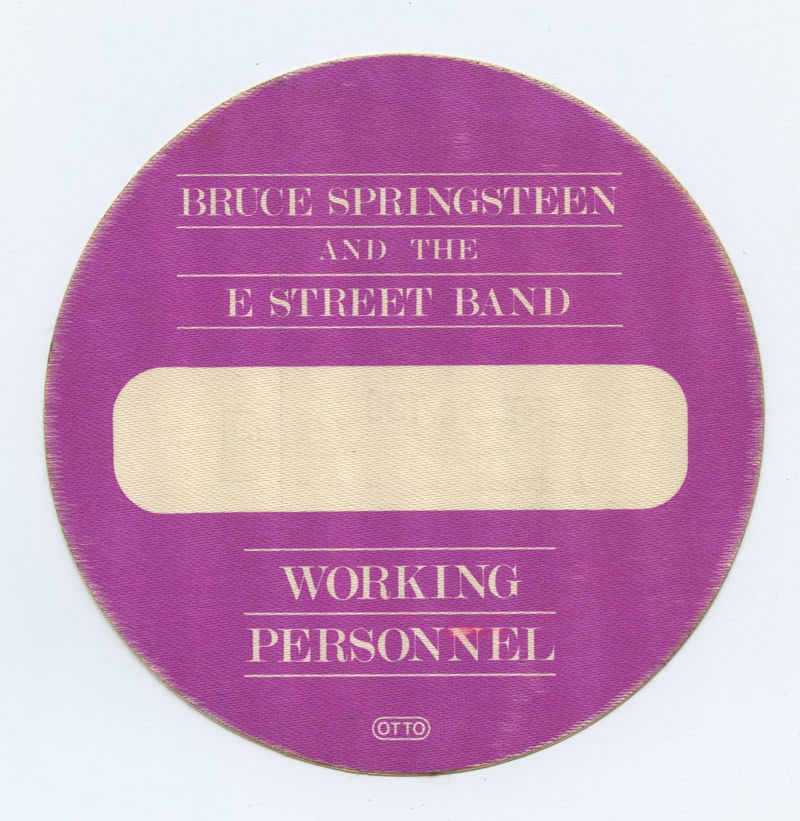 Bruce Springsteen Backstage pass 1984 Tour