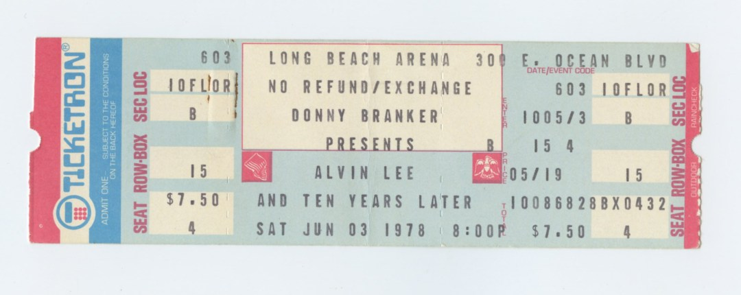 Alvin Lee and Ten Years Later Ticket 1978 Jun 3 Long Beach Arena Unused