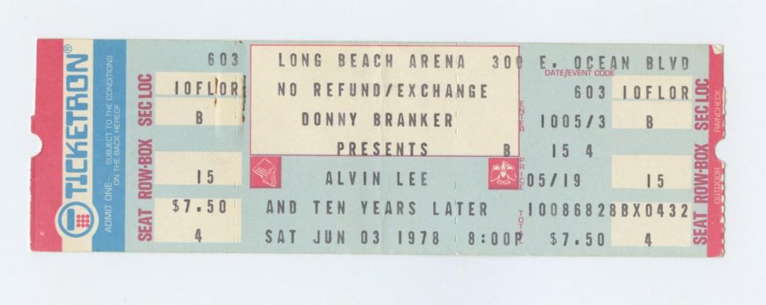 Alvin Lee and Ten Years Later Ticket 1978 Jun 3 Long Beach Arena Unused