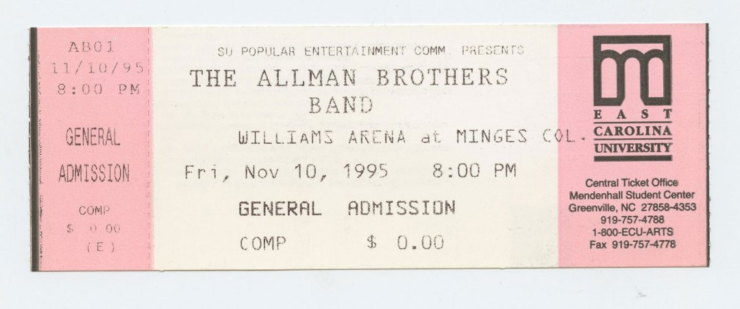 Allman Brothers Band Ticket 1995 Nov 10 Williams Arena Minges CO Unused
