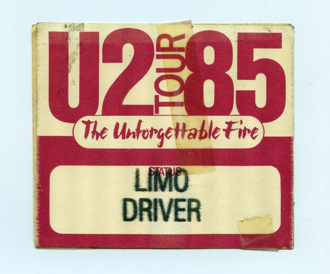 U2 Backstage Pass The Unforgettable Fire Tour 1985