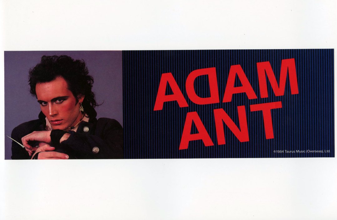 Adam Ant Sticker Decal 1984 Vintage