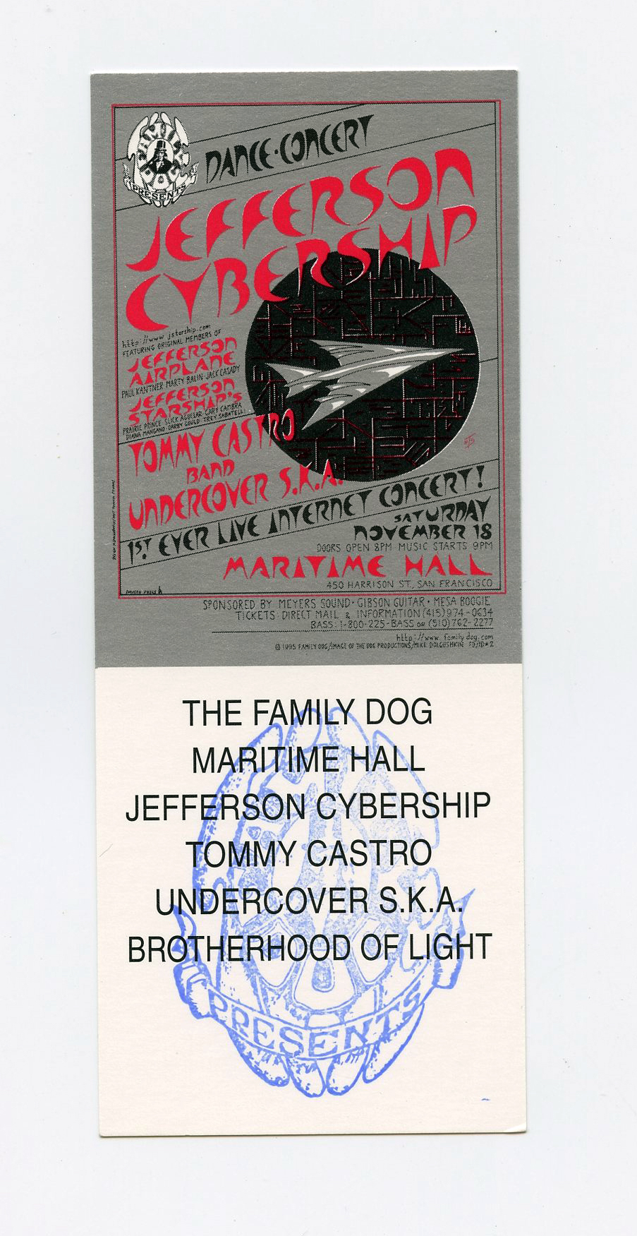 Maritime Hall 1995 Nov Ticket Jefferson Cybership
