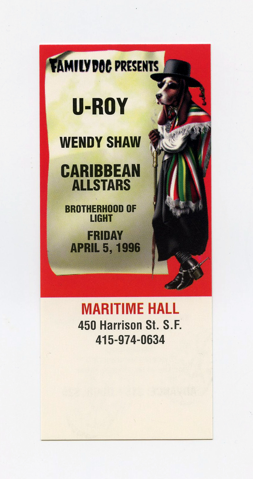 Maritime Hall 1996 Apr Ticket U-Roy Wendy Shaw