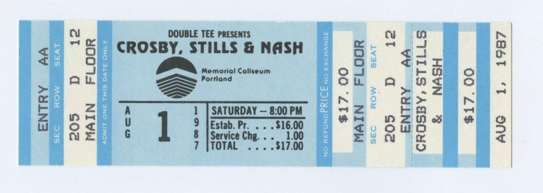 Daivid Crosy Stephen Stills Graham Nash Ticket 1987 Aug 1 Memorial Coliseum Portland Unused