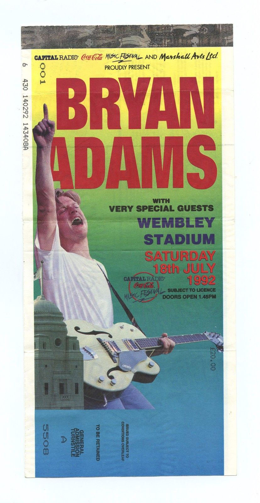Bryan Adams Ticket 1992 Jul 18 Wembley Stadium London UK Unused
