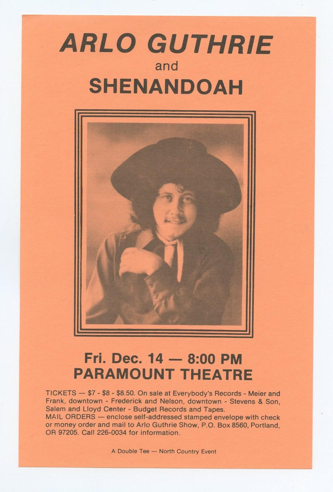 Arlo Guthrie Handbill 1979 Dec 14 Paramount Theater Portland