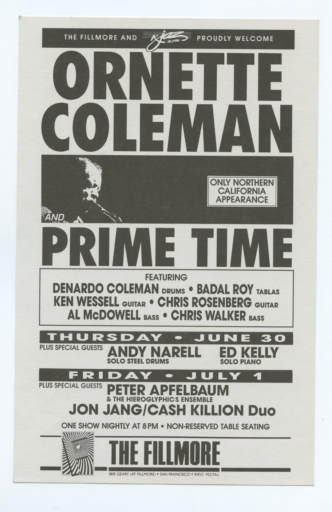 New Fillmore F030 Handbill Ornette Coleman and Prime Time 1988 Jun 30
