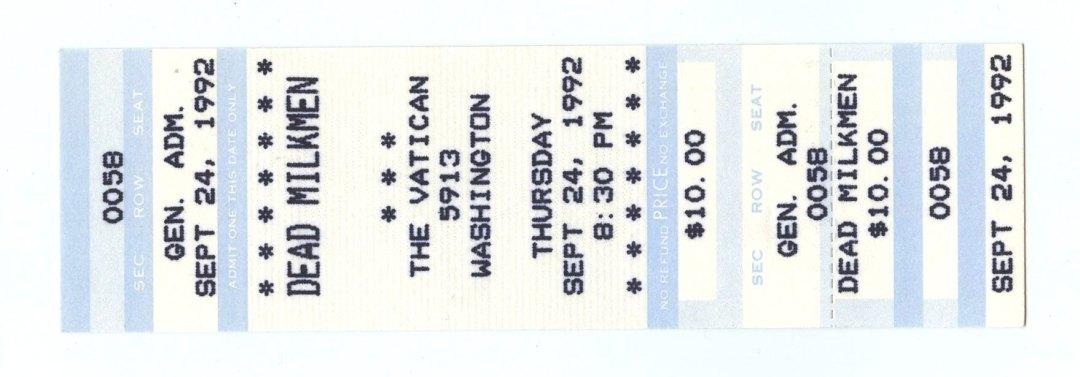 Dead Milkmen Ticket 1992 Sep 24 The Vatican Houston Unused
