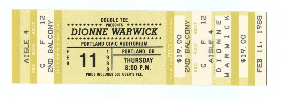 Dionne Warwick Ticket 1988 Feb 11 Portland Civic Auditorium Unused