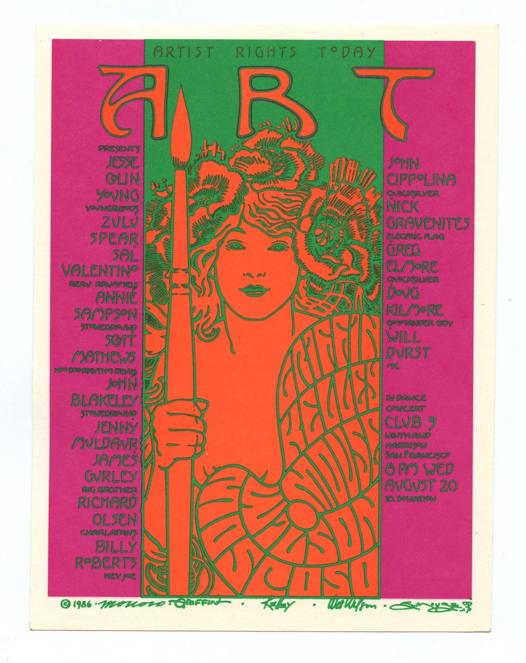Artist Rights Today Benefit Handbill 1986 Aug 20 Club 9 Victor Moscoso Wes Wilson Rick Griffin Stanley Mouse Alton Kelley