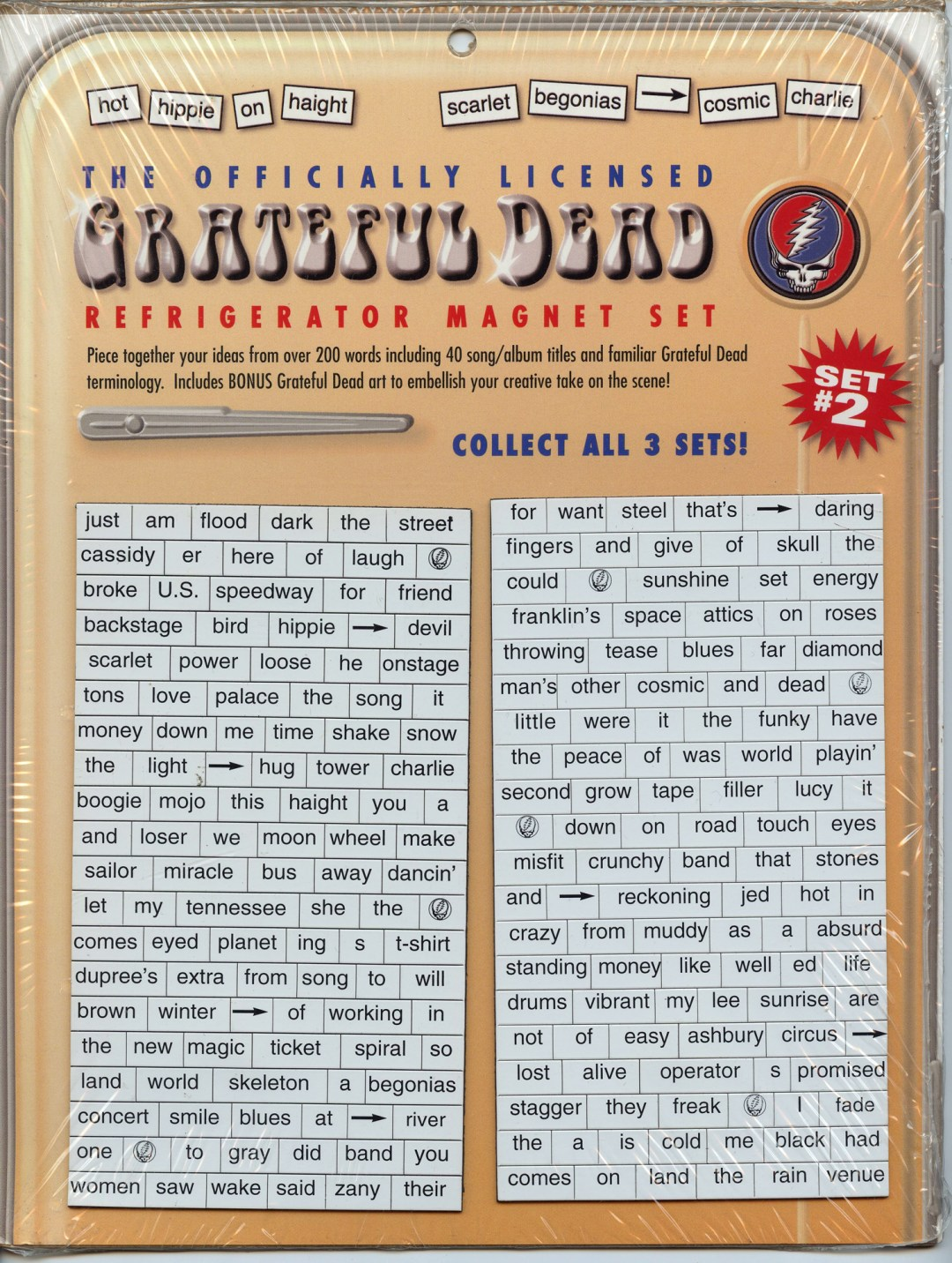 Grateful Dead Steal Your Face Refrigerator Magnet Set # 2 Album Title Sealed New