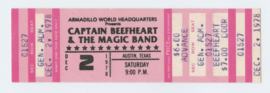 Captain Beefheart & The Magic Band Ticket 1978 Dec 2 Austin TX Unused