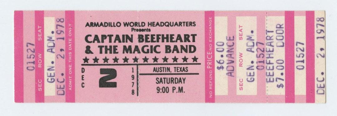 Captain Beefheart Ticket 1978 Dec 2 Austin TX Unused