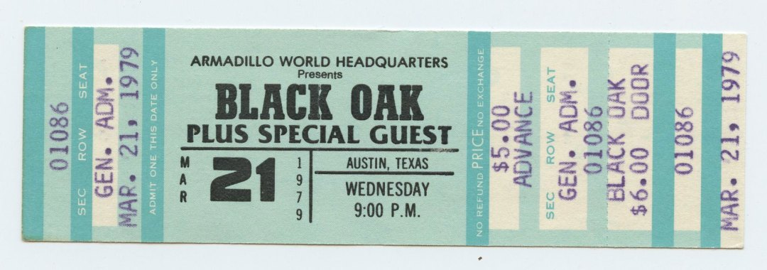 Black Oak Ticket 1979 March 21 Armadillo World Headquarters Austin TX Unused