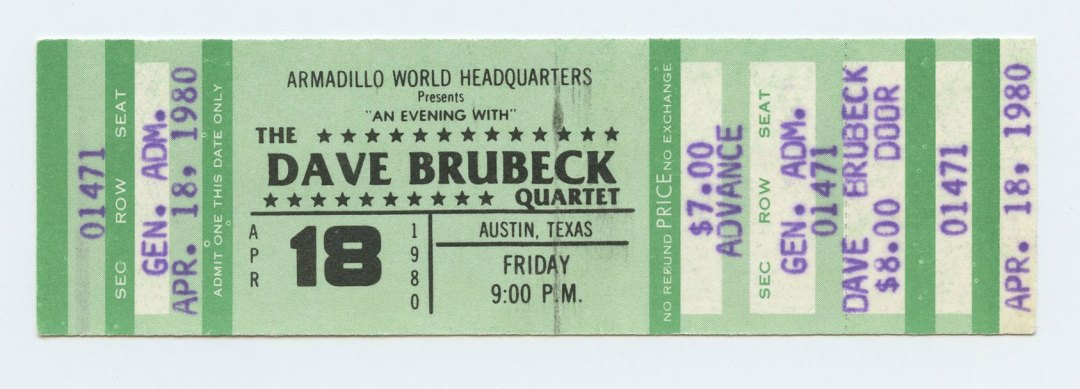 Dave Brubeck Quartet Ticket 1980 Apr 18 Austin TX Unused