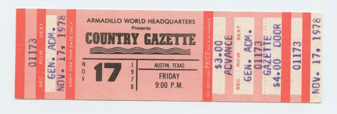 Country Gazette Ticket 1976 Nov 17 Armadillo World Headquarters Austin TX Unused