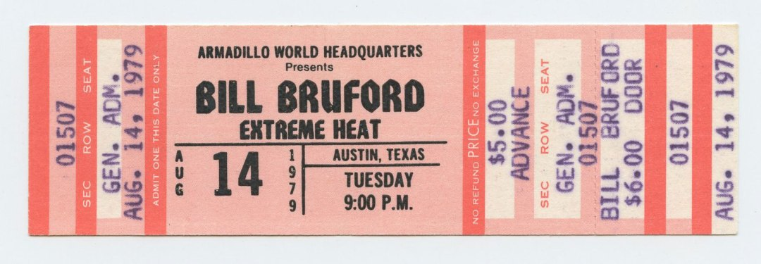 Bill Bruford Ticket 1979 Aug 14 Austin TX Unused w/ Extreme Heat