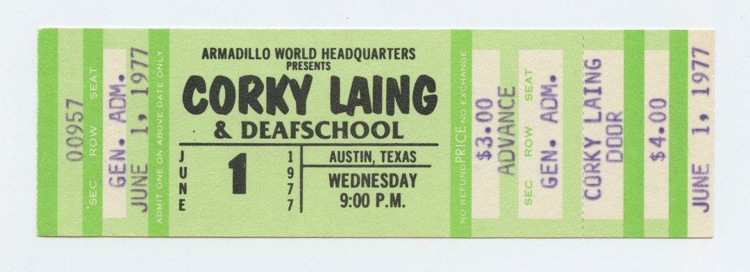 Corky Laing Ticket  1977 Jun 1 Armadillo World Headquarters Austin TX Unused w/ Deafschool