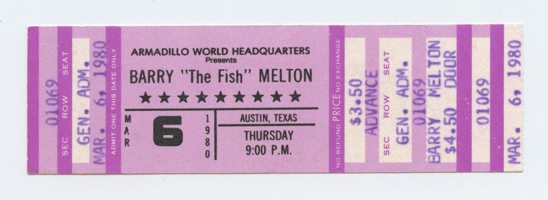 Barry Melton Ticket 1980 March 6 Austin TX Unused