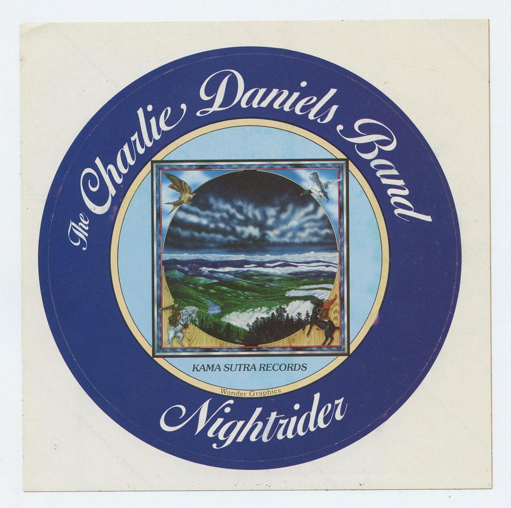 "Charlie Daniels Band Sticker 1975 Nightrider Album Promo 6"" diameter"
