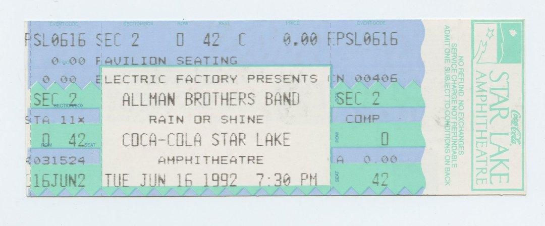 Allman Brothers Band Ticket 1992 Jun 16 Coca Cola Star Lake Amphitheatre Unused