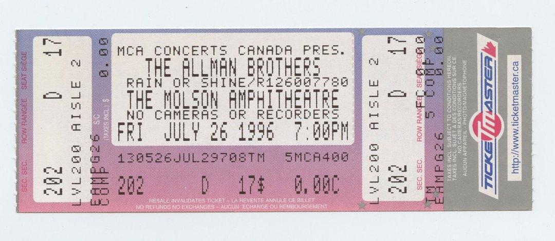 Allman Brothers Band Ticket 1996 Jul 26 Molson Amphitheatre Toronto Canada Unused