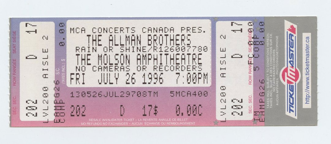 Allman Brothers Band Ticket 1996 Jul 26 Molson Amphitheatre Toronto Canada Unused