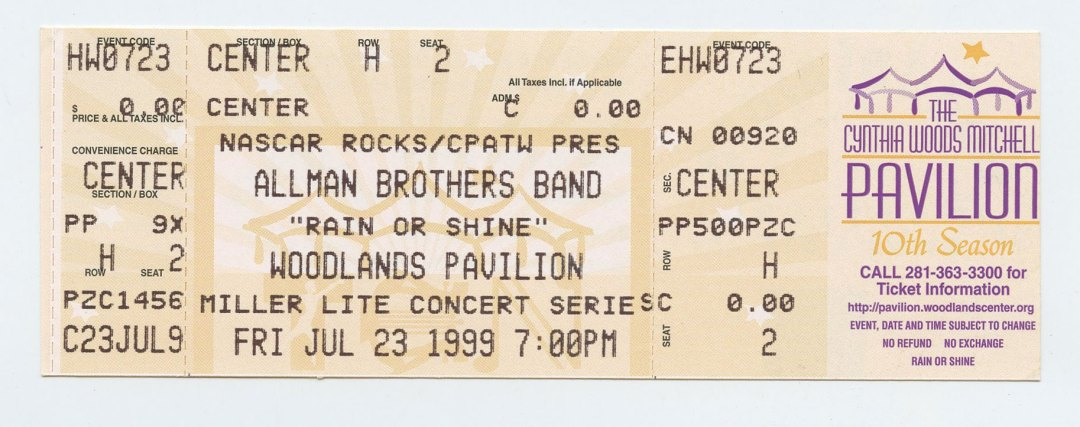 Allman Brothers Band Ticket 1999 Jul 23 Woodlands Pavilion TX Unused