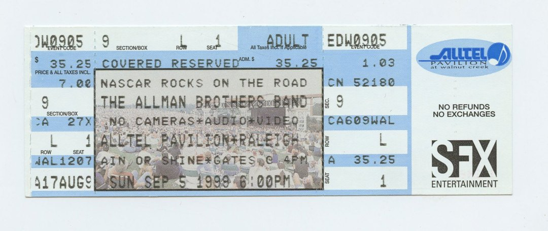 Allman Brothers Band Ticket 1999 Sep 5 Alltel Pavilion Raleiugh NC Unused