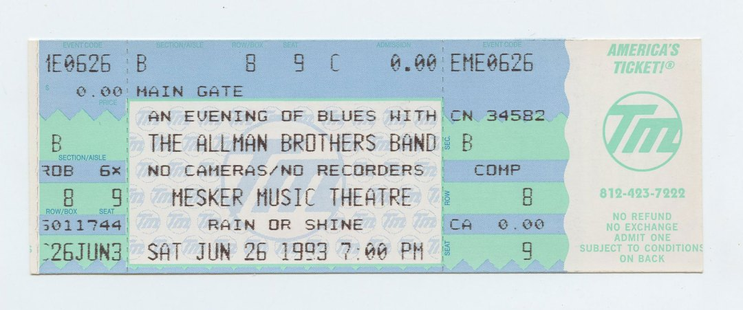 Allman Brothers Band Ticket 1993 Jun 26 Mesker Music Theatre Evansville Unused