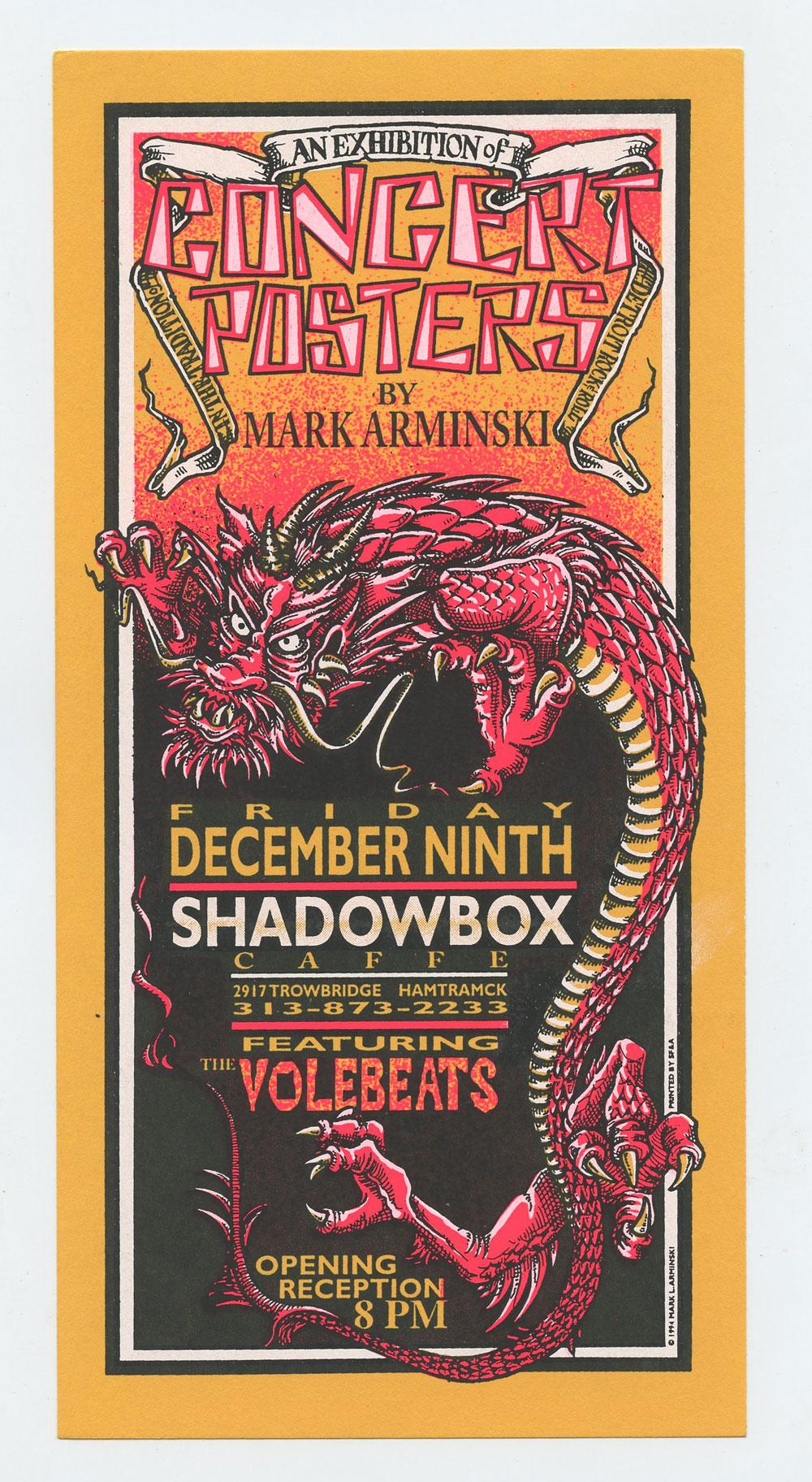 Exhibition of Concert Posters 1994 Dec 9 Handbill Mark Arminski