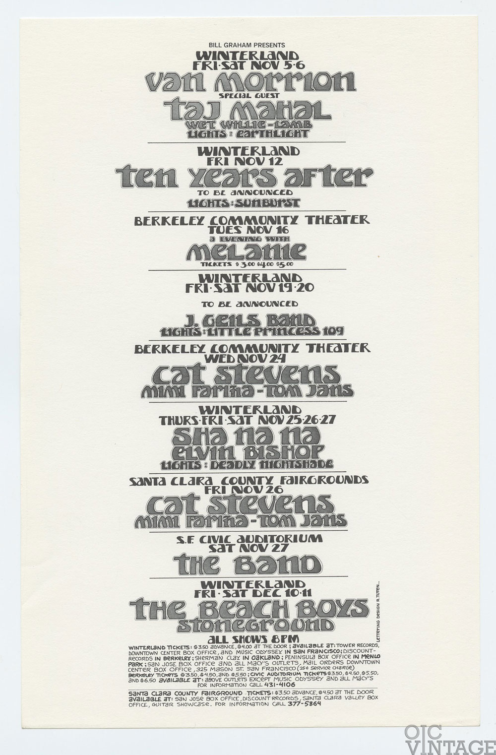 Bill Graham Presents Flyer 1971 Nov Van Morrison The Beach Boys The Band