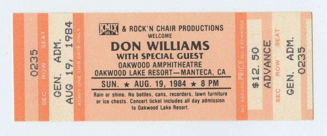 Don Williams Ticket 1984 Aug 19 Oakwood Manteca CA Unused