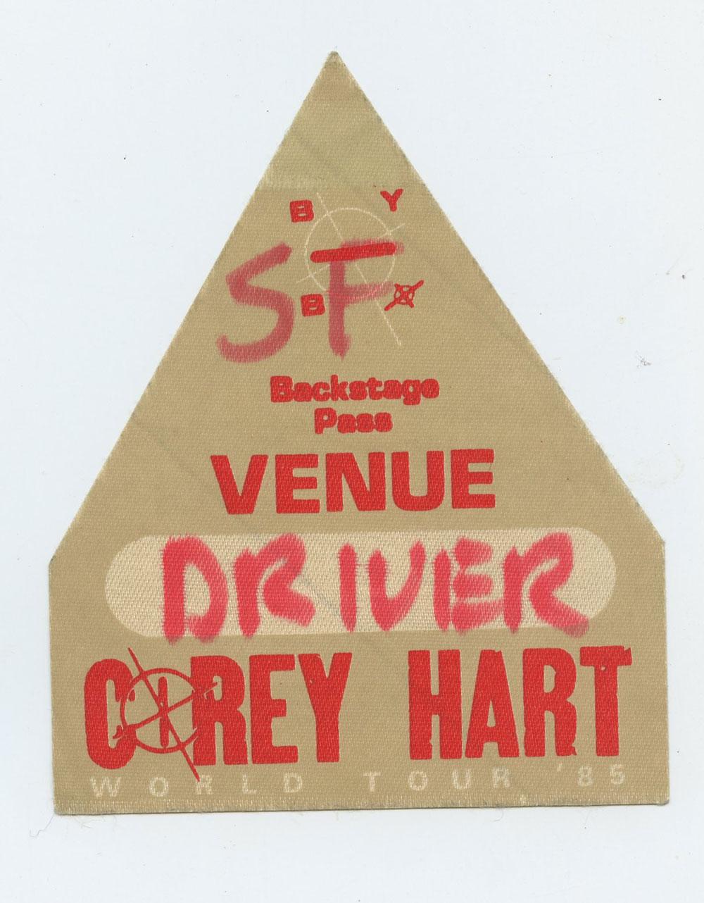 Corey Hart 1987 World Tour Backstage Pass