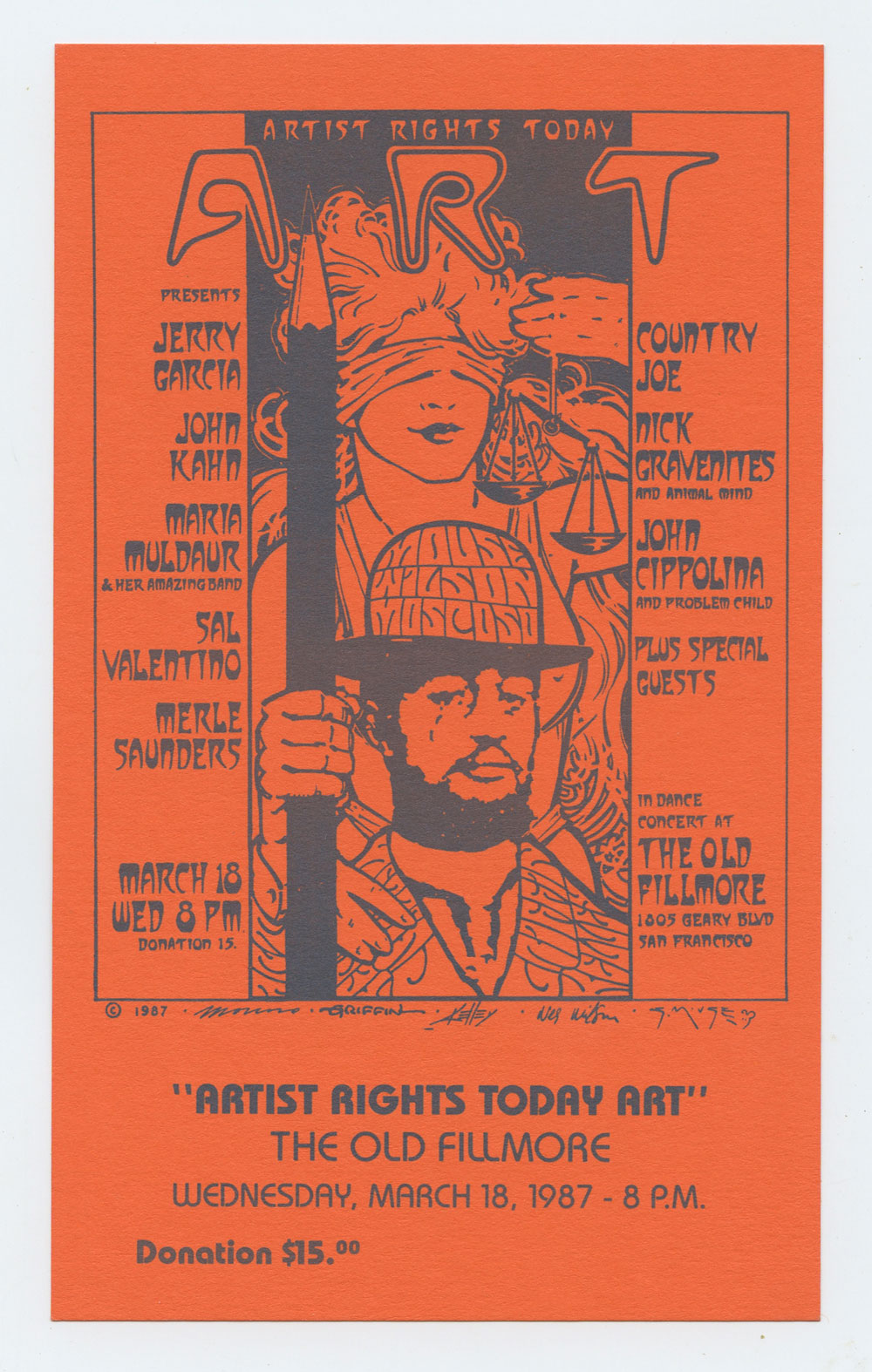 Artist Rights Today Art Concert Handbill 1987 March 16 Old Fillmore Jerri Garcia Country Joe