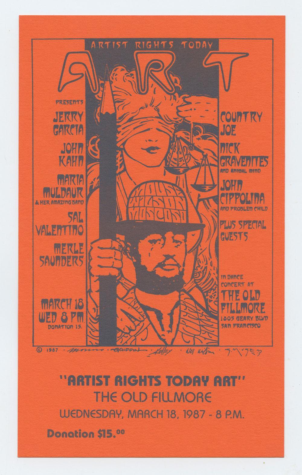 Artist Rights Today Art Concert Handbill 1987 March 16 Jerri Garcia