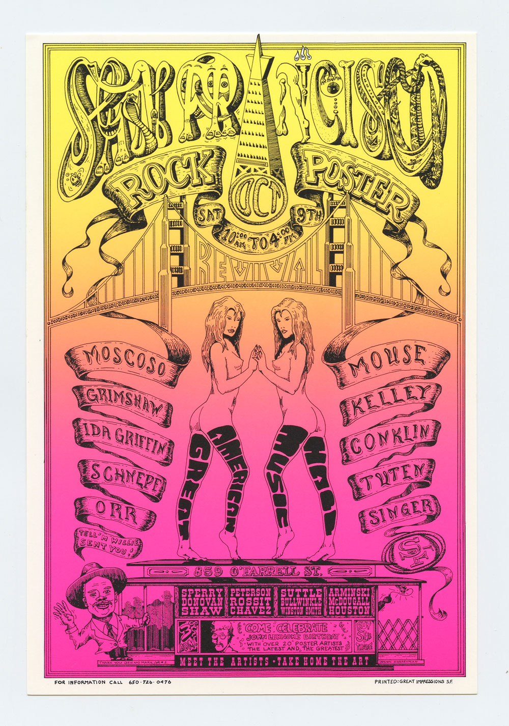 San Francisco Rock Poster Revival Handbill 1993 Oct 9 Moscoso Mouse Grimshaw Griffin