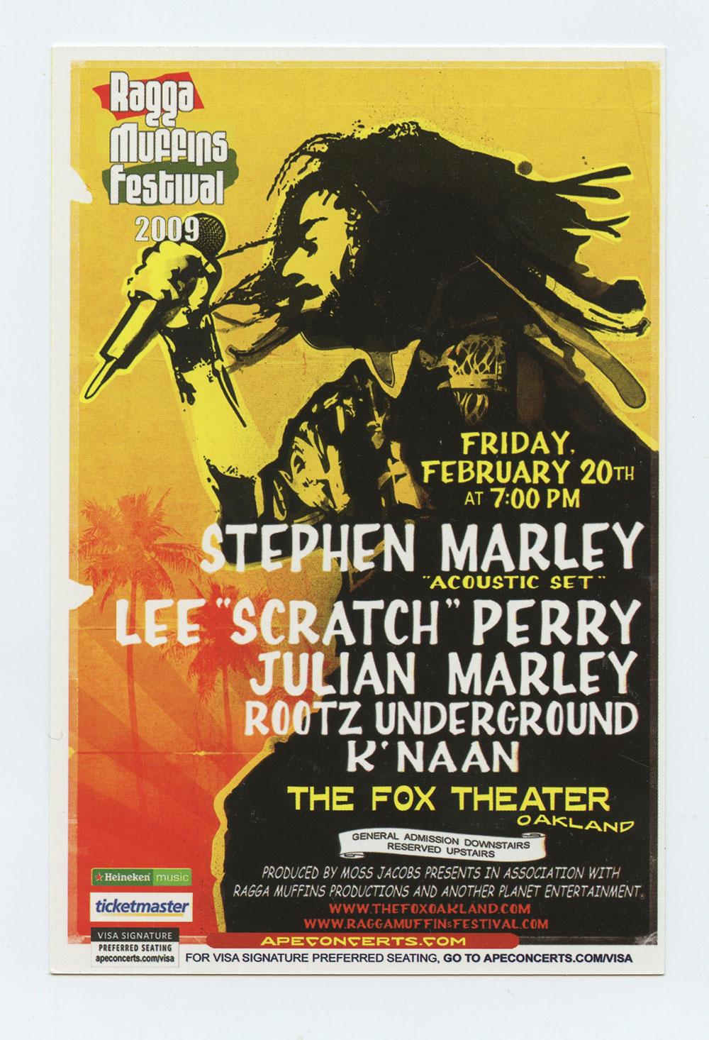 Stephen Marley Handbill Ragga Muffins Festival 2009 Fox Theatre Oakland