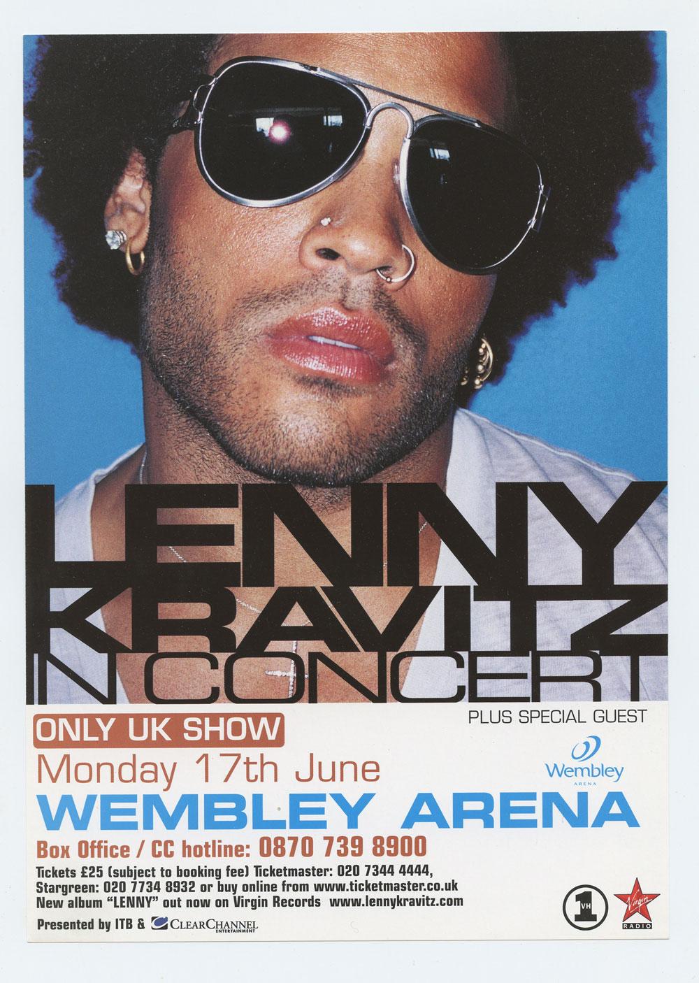 Lenny Kravitz Handbill 2002 June 17 Wembley Arena London UK