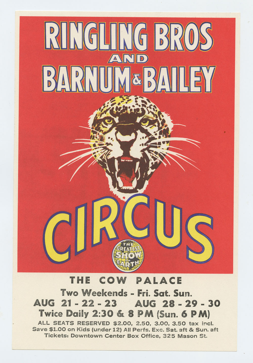 Ringling Bros and Barum & Bailey Circus Handbill 1970