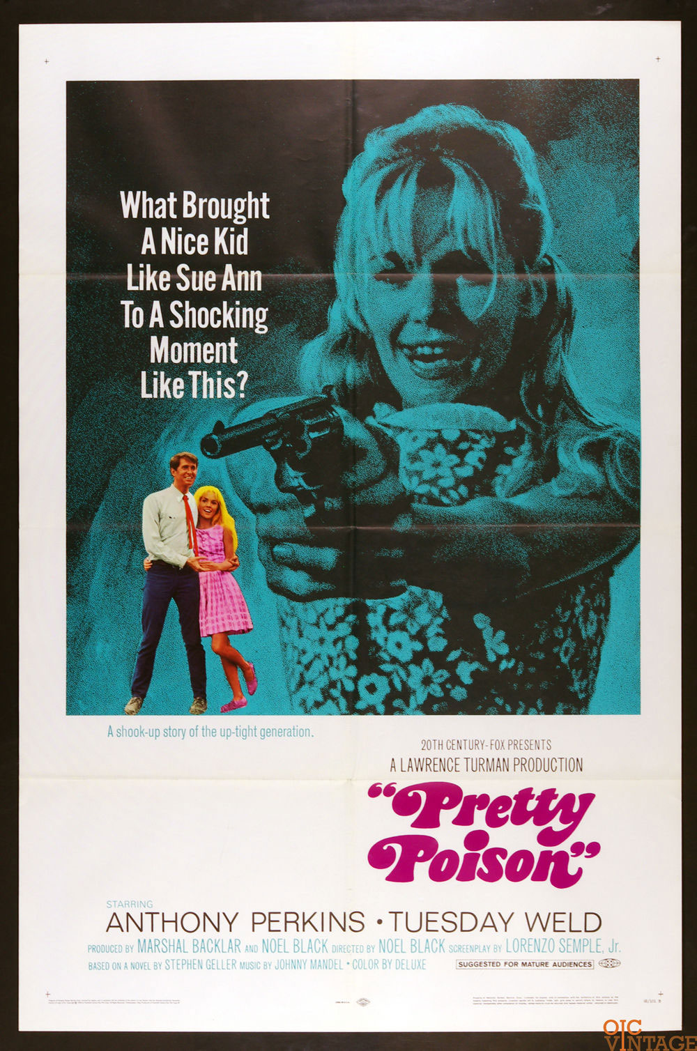 Pretty Poison Movie Poster 1968 Anthony Perkins Tuesday Weld 27 x 41 1 sheet
