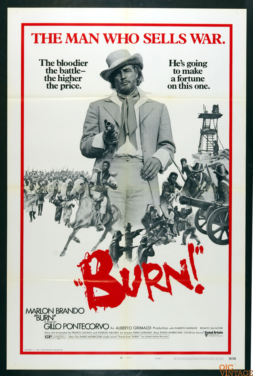 BURN! Movie Poster 1970 Marlon Brando 27 x 41 1 Sheet